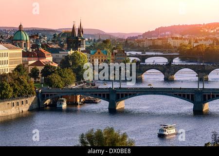 Over of Vitava river and Charles bridge and bridges of Prague.