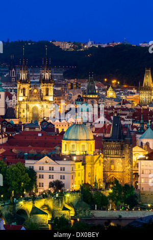 Czech Republic, Skyline of Prague at Dusk - Stock Photo