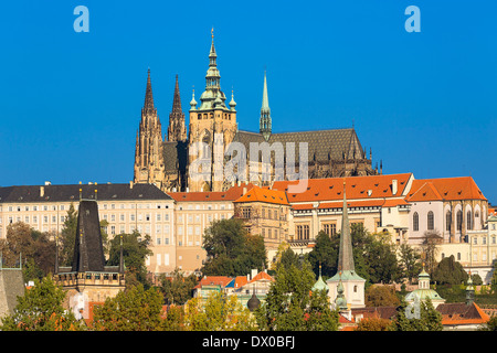 St Vitus's Cathedral and Castle of Prague - Stock Photo