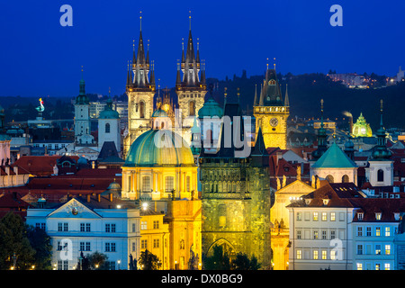 Czech Republic, Skyline of Prague at Dusk - Stock Photo