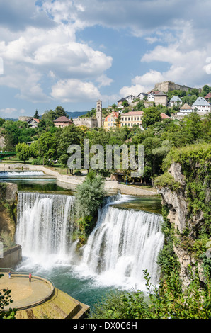 Waterfall in Jajce, Bosnia - Stock Photo