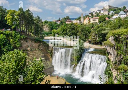 Waterfall in Jajce, Bosnia - Stock Photo