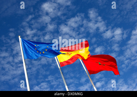 Flags of European Union, Spain and Morocco - Stock Photo