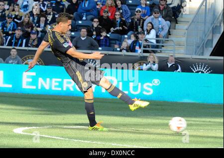 Philadelphia Union midfielder Brazilian International Leo Fernandes takes a late game shot during a soccer / football - Stock Photo