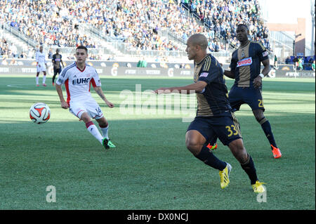 Philadelphia Union Brazilian International Fabinho chases down the ball during a soccer / football match with the - Stock Photo
