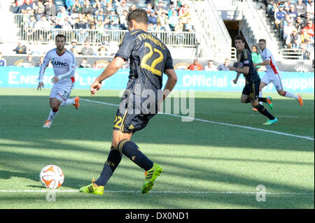 Brazilian international Leo Fernandes sets up frenchman Sebastian LeToux goal during a soccer / football match with - Stock Photo