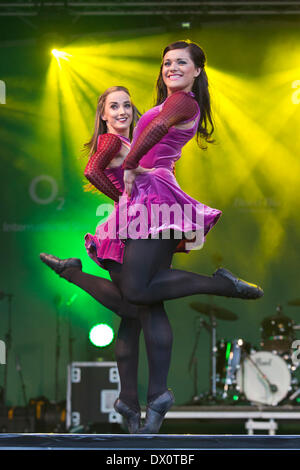 London, UK. 16th March, 2014. World-famous Riverdance, originally produced by Michael Flatley, ends the St Patrick's - Stock Photo