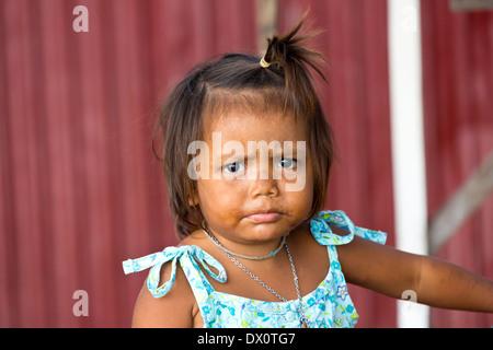 Sea Gypsy Girl on Rawai Beach, Phuket, Thailand - Stock Photo