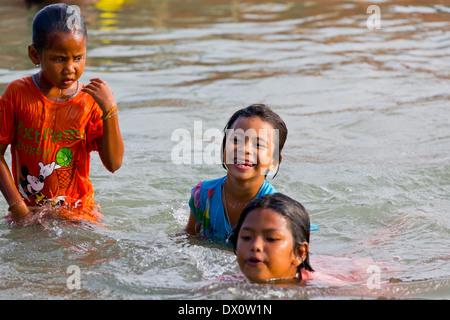 Sea Gypsy Kids on Rawai Beach, Phuket, Thailand - Stock Photo