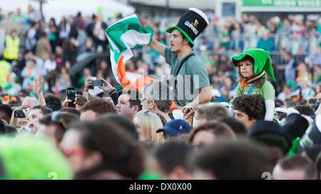 London, UK. 16th Mar, 2014. St. Patrick's Day Celebrations in Central London, Trafalgar Square, United Kingdom. - Stock Photo