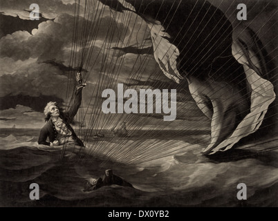 The perilous situation of Major Mony [Money], when he fell into the sea with his balloon on the 23rd of July, 1785, - Stock Photo