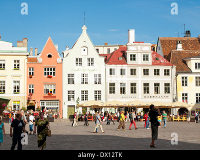 A view of Raekoja plats (Town Hall Square, in English) in the centre of Tallinn Old Town in Tallinn, Estonia. - Stock Photo
