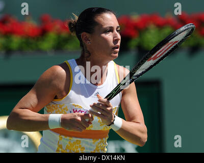 Indian Wells, California, USA. 16th Mar, 2014. Flavia Pennetta (ITA) in action during a finals match against Agnieska - Stock Photo