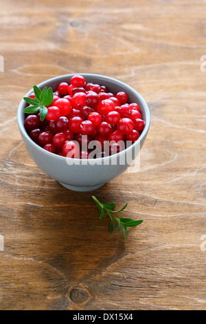 ripe cranberries in a bowl, food closeup - Stock Photo