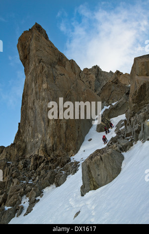 On approach towards Dent du Geant mountain, Alps, Mont Blanc massif, Italy, EU - Stock Photo