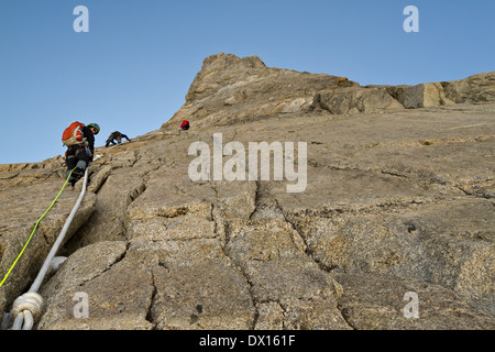 On the way to the summit of Dent du Geant, Alps, Mont Blanc massif, Italy, EU - Stock Photo