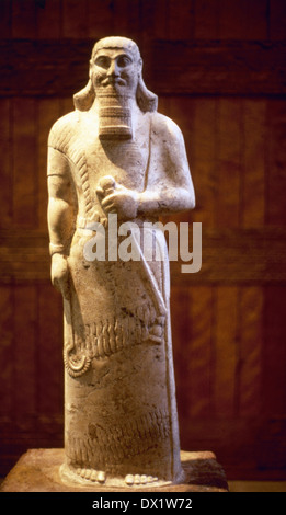 Ashurnasirpal II. King of Assyria (883-859 BC). Statue. 865 BC. From the Temple of Ishtar Sharrat-niphi, Nimrud. - Stock Photo