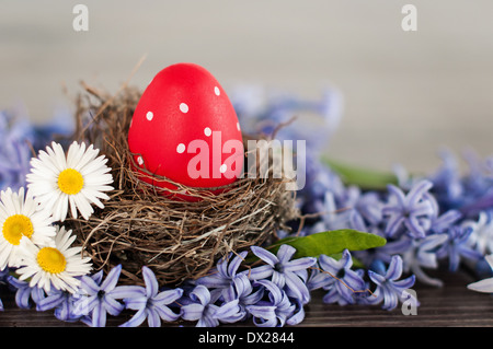 Red Easter egg in a nest among spring flowers - Stock Photo