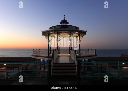 Dawn colours over the Victorian Bandstand, seaside promenade, Brighton City, Brighton & Hove, Sussex, England, UK - Stock Photo