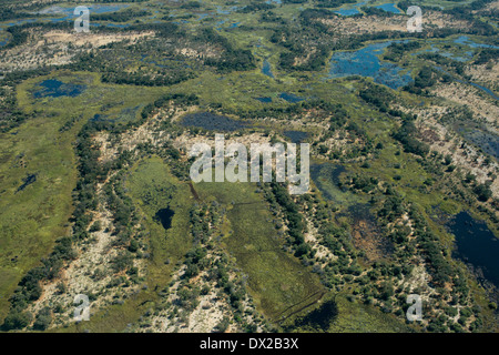 Aerial views from Camp Khwai River Lodge by Orient Express in Botswana , within the Moremi Game Wildlife Reserve - Stock Photo