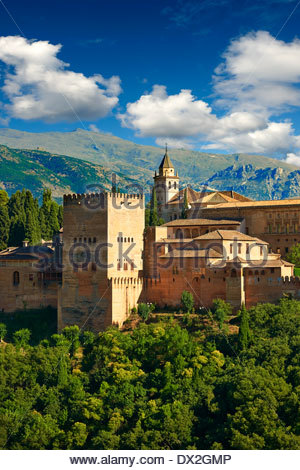 View of the Moorish Islmaic Alhambra Palace comples and fortifications. Granada, Andalusia, Spain.  - Stock Photo
