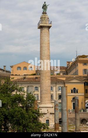 Trajan's Column, Colonna Traiana, Rome, Italy - Stock Photo