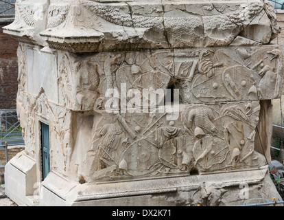 base of Trajan's Column, Colonna Traiana, Rome, Italy - Stock Photo