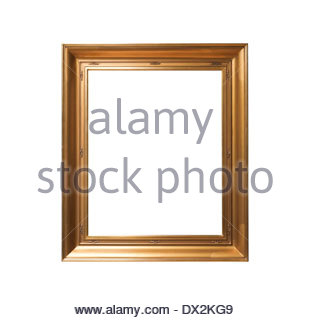 golden vintage frame isolated on white background - Stock Photo