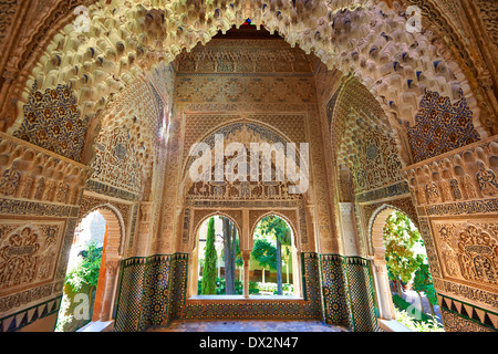 Arabesque Moorish stalactite or morcabe architecture of the Palacios Nazaries, Alhambra. Granada, Andalusia, Spain. - Stock Photo