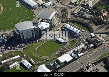 aerial view of Aintree Racecourse in Liverpool, home of the Grand National - Stock Photo