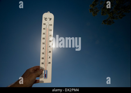 hot day heat sun scorching thermometer 40 degrees - Stock Photo