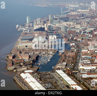 aerial view of Liverpool city centre and docks - Stock Photo