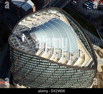 aerial view of One Angel Square, Manchester - headquarters of the CIS Cooperative Group, Co-op HQ - Stock Photo