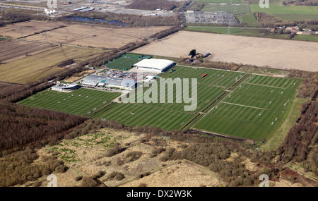 aerial view of Manchester United football training ground at Carrington, Manchester - Stock Photo