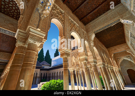 Arabesque Moorish architecture of the Patio de los Leones (Court of the Lions)   the Palacios Nazaries, Alhambra. - Stock Photo