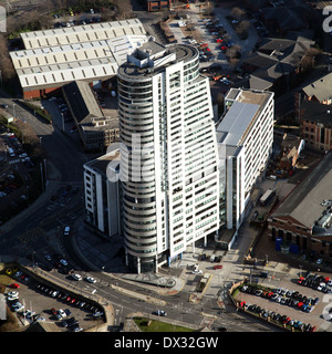 aerial view of Bridgewater Place apartment block in Leeds city centre - Stock Photo