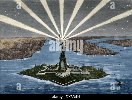 United States. Manhattan. New York. Statue of Liberty. Engraving. Colored. Stock Photo