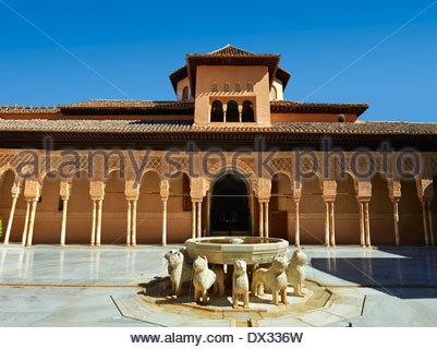 Arabesque Moorish architecture of the Patio de los Leones (Court of the Lions)   the Palacios Nazaries, Alhambra. - Stock Photo