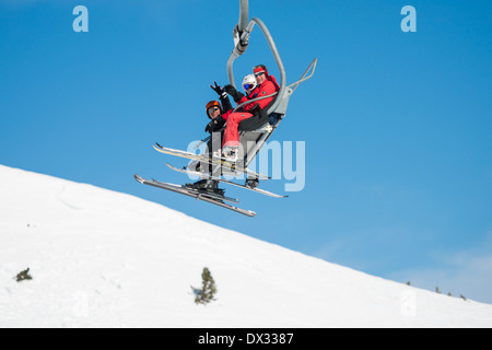 chair lifts in Soldeu, Andorra snow sports resort - Stock Photo