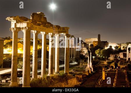 Night view, Roman Forum, Rome, Italy - Stock Photo