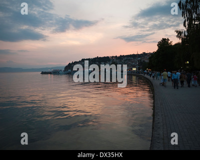 Ohrid harbour at sunset. UNESCO protected city & lake of Ohrid, Macedonia - Stock Photo
