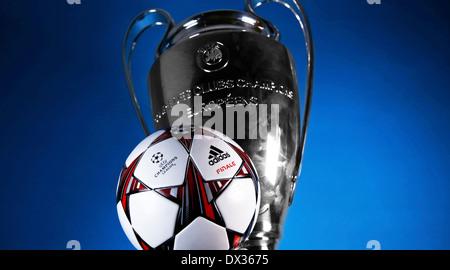 official match ball 'Finale' and trophy of the UEFA Champions League  - Stock Photo