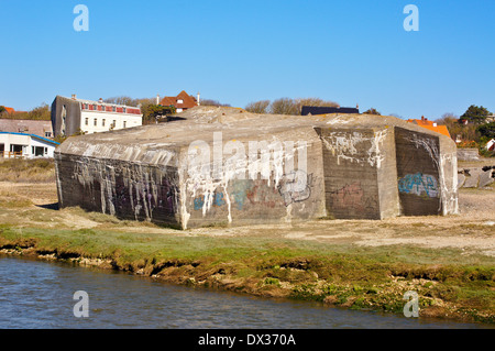 Atlantic Wall bunker on the river Slack at Ambleteuse, Wimereux, Côte Opale, Nord-Pas-de-Calais, France - Stock Photo