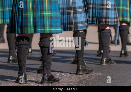 Waterloo Place, London, UK, 16 March 2014 - the annual St. Patrick's Day parade took place in bright sunshine in front of thousands of people who lined the route.  The Flanders Memorial Pipe Band pass by. Credit:  Stephen Chung/Alamy Live News Stock Photo