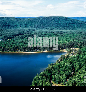 Aerial of Hanau lake in Vosges mountains Moselle Lorraine France - Stock Photo