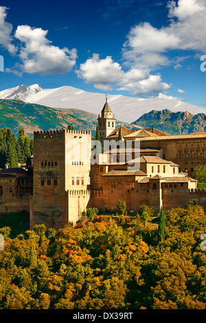 View of the Moorish Islamic Alhambra Palace complex and fortifications. Granada, Andalusia, Spain. - Stock Photo