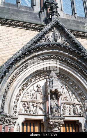 Ornate stone carving over the entrance to St Wilfrid's catholic church York, England, UK - Stock Photo