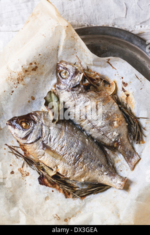 Top view on two grilled fish bream with rosemary served on baking paper. - Stock Photo