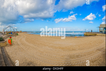 Old harbor in Tel Aviv is transformed to the riviera with beaches and long promenade. - Stock Photo
