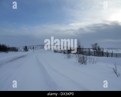 road r92 in northern finland, finland - Stock Photo